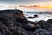 Fisherman on the coast of El Remo at sunset, La Palma, Canary Islands, Spain, Europe