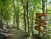 Sentiero dello Spirito, Trail leading to Cappella Rupestre di Ripa Rossa, Majella National Park, Abruzzo, Italy