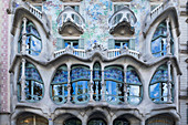 Exterior facade of Gaudi's former home, Casa Battlo, Barcelona