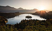 Pilgrimage Church of the Assumption on the island in Lake Bled at sunrise, Bled Slovenia