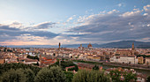 Florence skyline with Santa Maria del Fiore cathedral, tower and Arno river in the afternoon, Tuscany Italy