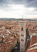 Above the rooftops of Florence on the Cathedral of Santa Maria del Fiore, Tuscany Italy