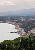 View from the ancient theater on coast at Taormina, Sicily Italy