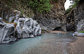 Gorges on the Alcantara river in the Gole dell'Alcantara near Taormina, Sicily Italy
