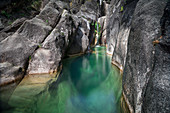 Water pools at the Cascata do Arato cascade in the Peneda-Gerês National Park, Portugal