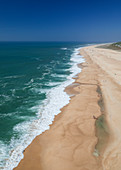View of the beach and sea from the Nazaré lighthouse in Portugal