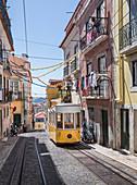 Disused tram in Lisbon in the Bairro Alto district, Portugal