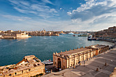 Atlantic Bluefin tuna fishing boats and view of Valletta harbour, Malta, Mediterranean, Europe