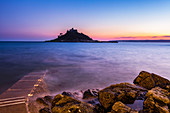 St. Michael's Mount Castle at sunset, Mount's Bay, Marazion, Cornwall, England, United Kingdom, Europe