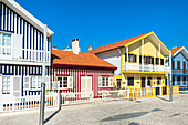 Palheiros typical houses, Costa Nova Beach, Aveiro, Venice of Portugal, Beira Littoral, Portugal, Europe