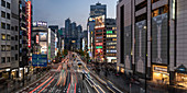 Panorama des Shinjuku-Gebiets in Tokio bei Nacht, Japan, Asien