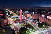 Elevated city view with 9 de Julio Avenue, Buenos Aires, Argentina, South America
