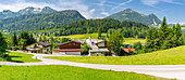 Elevated view of Fieberbrunn, Fieberbrunn, Austrian Alps, Tyrol, Austria, Europe