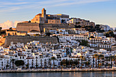 Waterfront and fortified historic old town, Dalt Vila, cathedral, at sunrise, Ibiza Town, Eivissa, Balearic Islands, Spain, Mediterranean, Europe