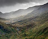 Wald, Berge und Wasserfall, Torsken, Senja, Norwegen, Skandinavien, Europa