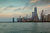 View of Chicago skyline from North Beach at dusk, Downtown Chicago, Illinois, United States of America, North America