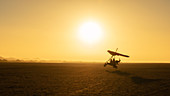 Micro-lighting over the sand dunes of the Namibian Desert, Namibia, Africa