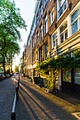 Golden hour light on canalside buildings, Amsterdam, North Holland, The Netherlands, Europe