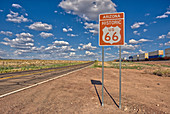 Road sign marking Historic Route 66 just east of Seligman, the birthplace of the famous road, Arizona, United States of America, North America