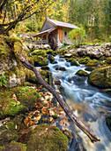 Gollinger Hütte an der Schwarzbach im Herbst, Tennengau, Österreich