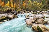 Die Ramsau im Zauberwald im Herbst, Hintersee, Berchtesgaden, Bayern, Deutschland
