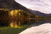 Hintersee in autumn, Berchtesgaden, Bavaria, Germany