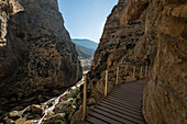 The Caminito del Rey (King's Walkway) is a narrow path made of wooden beams on the walls above the Gaitanejo Gorge in the province of Malága. The first construction was inaugurated by King Alfonso XIII in 1921 and reconstructed in 2015.