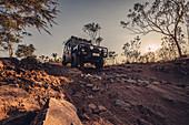 Off-road vehicle on four-wheel drive in El Questro Wilderness Park, Kimberley Region, Western Australia, Australia, Oceania;