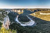 France, Ardeche, Gorges de l'Ardeche, 30 km long from Vallon Pont d'Arc to Saint Martin d'Ardeche, Ardeche river