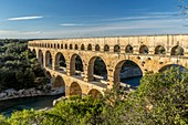 France, Gard, Pont du Gard listed as World Heritage by UNESCO, Grand Site de France, Roman aqueduct bridge over the Gardon river near Remoulin, length 274m, height 49m