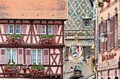 France, Haut Rhin, route des Vins d'Alsace, Colmar, facades and hotel sign of Hotel Saint Martin in Grand Rue, tiled roof of former custom building in the background