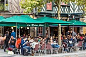 France, Ille et Vilaine, Rennes, historic district, place Saint Anne timbered house and a cafe terrace