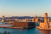 France, Bouches du Rhone, Marseille, the mole J4, MuCEM (Museum of European and Mediterranean Civilisations) by architect Rudy Ricciotti and the Fort Saint Jean, the basilica of the Major, CMA CGM tower by architect Zaha Hadid