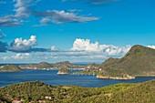 France, Guadeloupe (French West Indies), Les Saintes archipelago, Terre de Bas, panoramic view over Terre de Haut