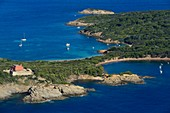 France, Var, Iles d'Hyeres, Parc National de Port Cros (National park of Port Cros), Porquerolles island, the Grand Langoustier Fort left and the Mas du Langoustier cove right (aerial view)