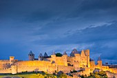 France, Aude, Carcassone, medieval district listed as World Heritage by UNESCO, the ramparts from the Aude western gate