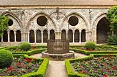 France, Aude, cloister and water tank of Sainte Marie de Fontfroide cistercian abbey