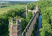 France, Eure, Pont Saint Pierre, Levavasseur mill of Fontaine Guerard, industrial ruins of gothic revival english (aerial view)