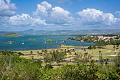 France, Martinique, Les Trois-Ilets, the golf course of Empress Josephine with the three islets in Fort-de-France bay
