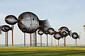 France, Alpes Maritimes, Cagnes sur Mer, the school of fish monumental wrought iron made by the artist Sylvain Subervie on the sea front