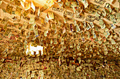 Countless banknotes hang from the ceiling of the Turtle Rock Bar at Lake Berryessa, Napa Valley, California, USA