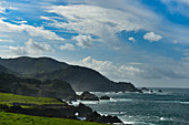 The Pacific coastline overlooking Highway # 1 and the Bixby Bridge at Carmel Highlands, California, USA