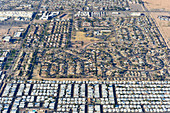 Top view of a housing development in California with caravan park and houses, USA