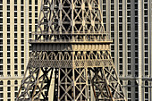 View of the replica of the Eiffel Tower and a hotel complex in Las Vegas, Nevada, USA