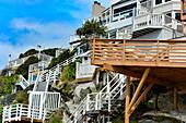 Nested stairs and a beach house in LAguna Beach, California, USA