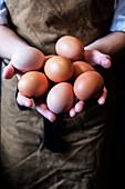 Hohe Winkelnahaufnahme der Person, die Schürze trägt, die frische braune Eier hält