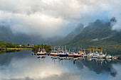 Fishing boats and traditional wooden huts, Lofoten islands