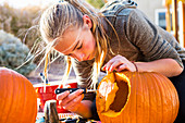 A teenage girl carving a large pumpkin at Halloween.