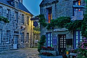 France, Finistere, Locronan, urban landscape of a small traditional Breton village at night