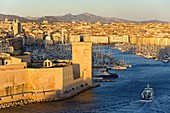 France, Bouches du Rhone, Marseille, the Vieux Port and Fort Saint Jean (seventeenth century) historical monument